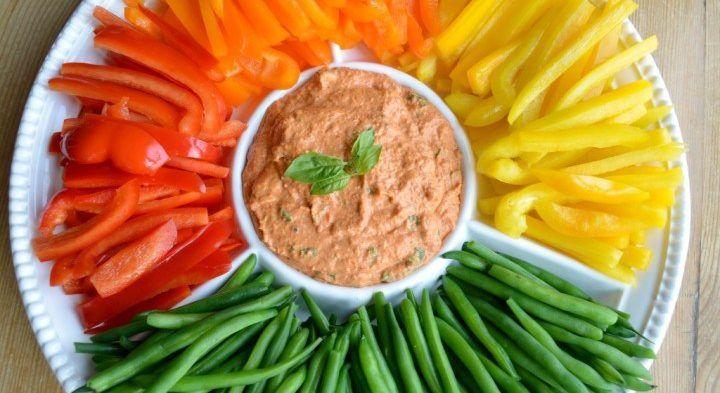 Hummus con crudités de verduras